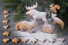 Pain d'épice sous forme d'animaux, étoiles et coeurs À l'arrière-plan des arbres de Noël de brindilles Photographie stock libre de droits