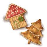 Pain d'épice sur l'arbre d'isolement par fond blanc de maison et de Noël avec l'ombre illustration stock