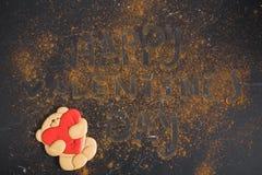 Pain d'épice Teddy Bear Jour du `s de Valentine images libres de droits