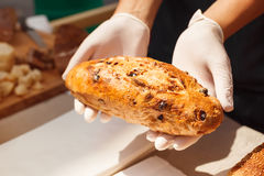 Pain dans des mains de boulanger Images libres de droits