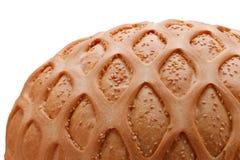 Pain de blé avec le sésame et le modèle sur le plan rapproché blanc photographie stock