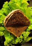Pain de Brekfast avec de la salade verte Images stock
