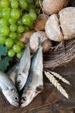 Pain de communion avec des poissons et des raisins Photographie stock libre de droits
