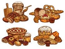Pain de croquis de vecteur et nourriture de boulangerie illustration de vecteur