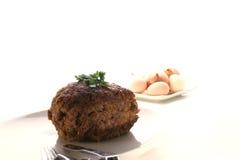 Pain de viande d'une plaque blanche Images libres de droits