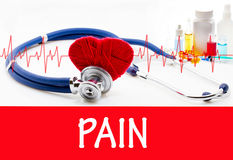 Pain. The diagnosis of pain. Phonendoscope and vaccine with drugs. Medical concept stock photography