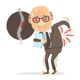 Pain. Elderly businessman in a suit. He has pain in his back. stands sore.And diagram showing spine Injured.Cartoon character concept of hard work is bad for royalty free illustration