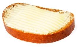 Pain et beurre au-dessus de blanc Photos libres de droits