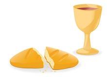 Pain et vin d'â de communion Image stock