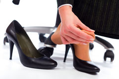 Pain in the Feet. Wearing high heel shoes has its painful disadvantages - hurting feet, sole Stock Photography