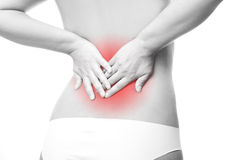 Pain in female backache Royalty Free Stock Images