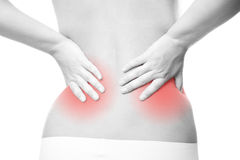Pain in female backache Stock Image
