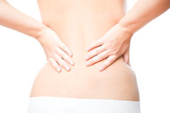 Pain in female backache Royalty Free Stock Image