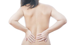 Pain in female backache Stock Photos