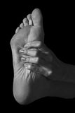 Pain in the foot Royalty Free Stock Image