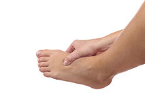 Pain in a foot. sports trauma Stock Photography