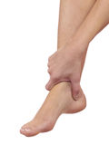Pain in a foot. sports trauma Royalty Free Stock Image