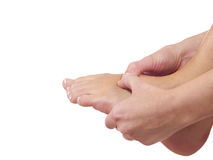 Pain in a foot. sports trauma Royalty Free Stock Photography