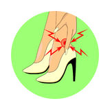 Pain on foot from wearing high heels. Location of pain on foot from wearing high heels icon green background Stock Photography