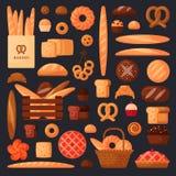 Pain frais et pâtisseries dans le style plat Photographie stock libre de droits