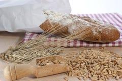 Pain français avec des céréales de la plaque de bois de construction Images stock
