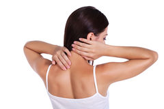 Pain. girl holds neck in his hands Stock Photo