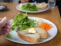 Pain grillé avec des salades Photo libre de droits