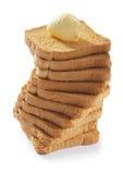 Pain grillé avec du beurre Photos stock
