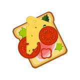 Pain grillé avec du fromage, Ham And Vegetables, icône colorée de vecteur de commande de menu de café d'aliments de préparation r Images stock