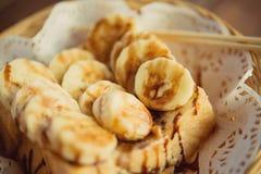 Pain grillé complété avec la page de banane de chocolat Images libres de droits