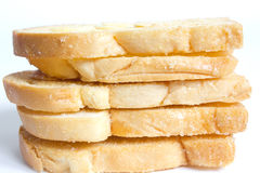 Pain grillé cuit au four de beurre avec les amandes coupées en tranches Image libre de droits