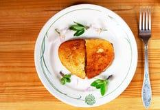Pain grillé d'un plat Image stock