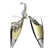 Pain grillé de célébration avec des paires de cannelures de champagne Images libres de droits