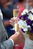 Pain grillé de champagne de mariage Photos libres de droits