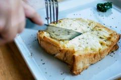 Pain grillé de fromage Images stock