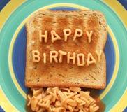 Pain grillé de joyeux anniversaire Image libre de droits