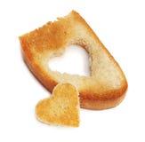 Pain grillé de pain de coeur Photographie stock libre de droits