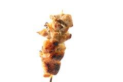 Pain grillé de porc avec le fond blanc dans l'instruction-macro Images stock