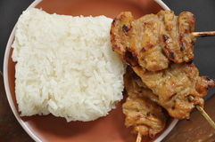 Pain grillé de riz collant de porc. Photos libres de droits
