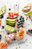 Pain grillé fait maison d'été avec de la salade de saumons fumés de fromage fondu, de myrtilles, de radis, de concombre, d'avocat photos libres de droits
