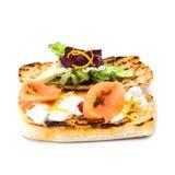 Pain grillé rouge de poissons avec des salades et la sauce au fromage Pain grillé par sandwich saumoné mediterrian classique de n Photos stock