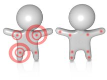 Pain guys 3d. Two huys with different pain dots on their bodies Royalty Free Stock Image