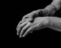 Pain in a hand royalty free stock images
