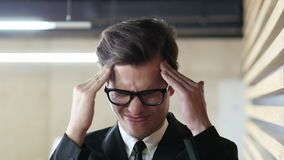 Pain in Head, Headache, Frustration and Tension for Man. Creative Designer stock video footage