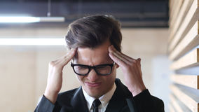 Pain in Head, Headache, Frustration and Tension for Man Royalty Free Stock Photos