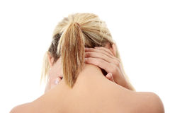Pain in her back Stock Image