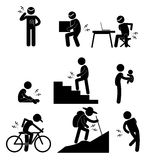 Pain in Human Body Parts Knee & Back Ache on Various Poses and Positions Stick Figure Pictogram Icon Royalty Free Stock Photos