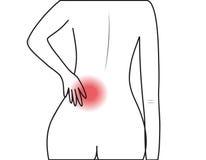 Pain. The human lumbar pain on white background Royalty Free Stock Photos