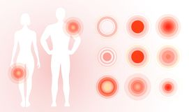 Pain icon on human body. Red pain rings, concentric circles. Flat simple concept design. Isolated vector illustration on. Blank background stock illustration