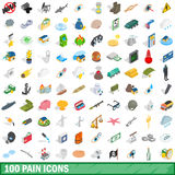 100 pain icons set, isometric 3d style Stock Photos